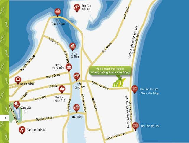 Vị trí căn hộ HARMONY ven biển Đà Nẵng